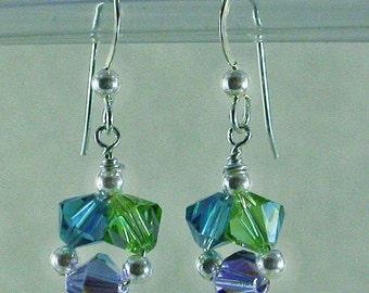 Triplets 6mm Swarovski Crystal and Sterling Silver Earrings, Bridesmaids Gift, Color Match Earrings, Drop Earrings, Dangle Earrings