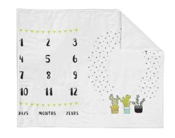 Monthly Milestone Blanket Cactus - Crib Blanket - Baby Blanket - Cactus Blanket - Monthly Counter Blanket -  Baby Photo Prop - Baby Gift