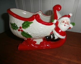 Vintage Christmas Relpo Santa and sleigh candy dish planter centerpiece display porcelain