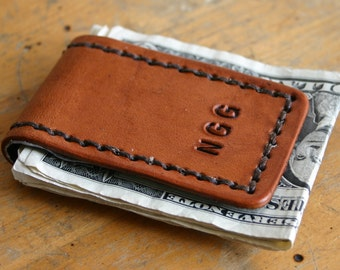 Magnetic Money Clip. Personalized Mens leather money clip with custom initials Light Brown