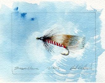 Fly Fishing Art - Original Art - Watercolor - Steam Llama - Streamer - Made in Michigan - Michigan Artist - Fly Fishing - Black Frame