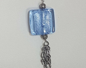 Blue Foil Bead with Sunflowers