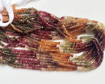 Tunduru Sapphire Faceted Rondelle Beads, Natural Tunduru Sapphire Beads, Multi Tunduru Sapphire Necklace, 3.5mm, 6 Inch - AGA44