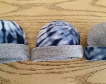 Baby Beanie reverseabl, cotton knit and fleece,  three sizes Grey and Blue tye dye