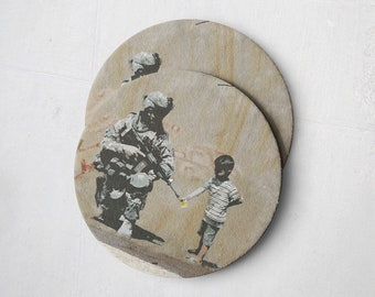 Banksy Drink Coasters – Absorbent Coaster Set of 10 – Coasters for Women & Men – Heavyweight Reusable Thick Pulpboard - Army Flower