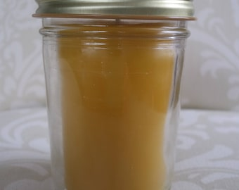 Handmade 100% Beeswax Candle - 8 ounce smooth glass jar
