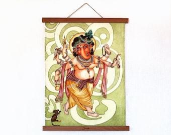 "Ganesha print on organic cotton with magnetic holders, Ganesha Artwork, Ganapati, Hindu Deity, Yoga Art, 34cm x46cm (13"" x 18"")"