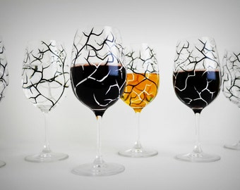 Halloween Glasses, Halloween Decor, Spooky Black and White Halloween Trees - Set of 2 Hand Painted Halloween Wine Glasses