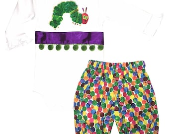 Baby Girl's Personalized Caterpillar Ribbon and Bow Long Sleeve body suit with Caterpillar Multi Dots Fabric Bloomers or Pantaloons