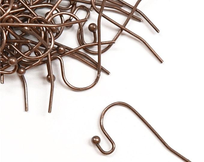 Earwire, Fishhook Ball End, Antique Copper - 20 Pieces (EWBAC-FHBE)