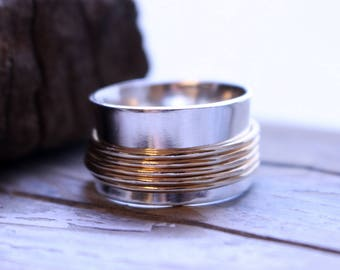 Sterling Gold Spinner Ring - Gold Worry Ring - Push Ring - Gift for Her SR123