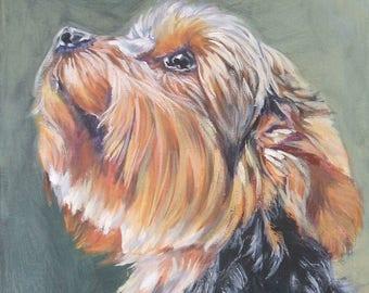"Yorkshire Terrier YORKIE dog portrait art canvas PRINT of LAShepard painting 8x10"""