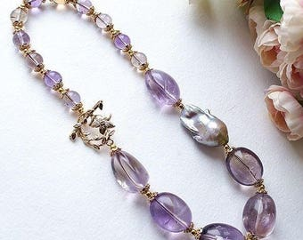 "Ametrine necklace with large Baroque pearl ""of Warm Water"""