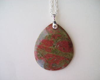 "Beautiful Unakite Pendant 2"" long"