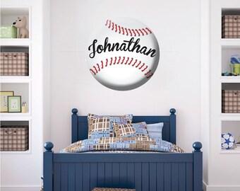 Baseball Wall Decal, Custom Baseball Wall Art, Personalized Baseball  Decals, Baseball Wall Decor
