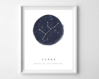 Virgo Zodiac Sign Print, PRINTABLE ART, Modern Virgo Sign Star Map Print, Virgo Birth Sign Print, Modern Horoscope Print, Virgo Wall Art