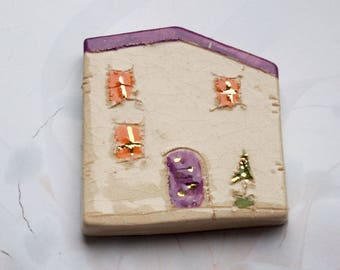 Cute Frige Magnets - Purple house Ceramic magnets, Little clay house magnets, Kitchen magnets
