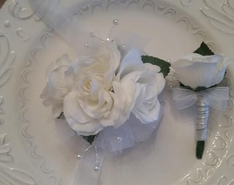 Prom Wrist Corsage  White Rose Wrist Corsage and Matching Boutonniere