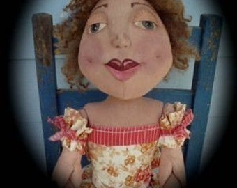 "Large 36"" Primitive Folk Art Doll  - Samantha Jo ePattern"