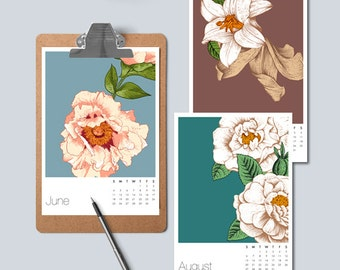 Floral Printable Calendar, A5 Monthly Calendar, A4 Desk Calendar, Gift for Mom, Digital Download, US Letter, Romantic Gift for Her, 2018