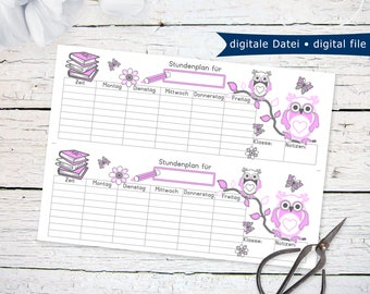 Back To School Schedule with pink owls | printable PDF instant download last minute gift idea for first day of school