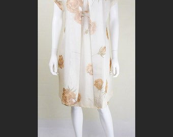 Stunning 1950's Vintage Cream Silk Dress and Jacket Size 8