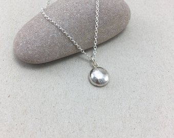 Sterling Silver Pebble Necklace, British Silver Nugget Pendant, Handmade Silver Pebble Necklace on Chain, Recycled Silver Pendant