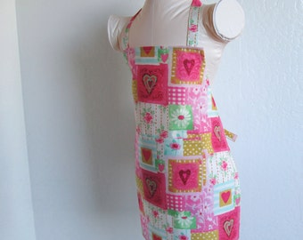 Childrens Valentine Apron- A Sweet Kids Valentine Apron- Pink Hearts and Flowers of Love, toddler apron, cooking apron, painting apron, chef