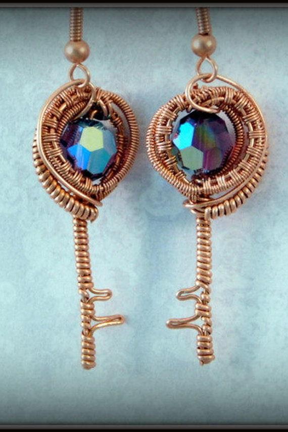Wire Wrapped Mini Key Earrings Copper Eye Earrings Purple