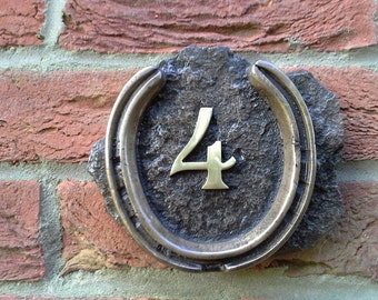 Horseshoe door/ house Number plaque in bronze or Pewter. Add up to two numbers from 1.to 99. Number 4.
