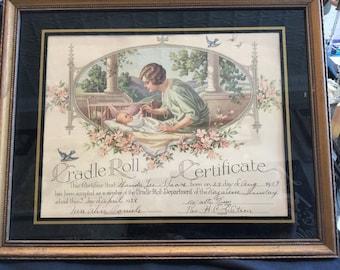 Vintage Cradle Roll Certificate