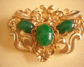 Vintage Green Glass  Brooch Pin-LARGE