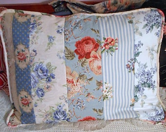 Bonny BLUE FLORAL PILLOW Sham Cover 5 Pastel Fem Prints Red Peony Roses Lilac Piping, Envelope Opening Soft Comfy Scrappy Stash Case 29 x 22