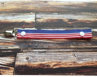 American Flag, Pacifier Clip, Military, Flag, Baby Accessories, Red, White, Blue, Baby Shower Gift, Ribbon, 4th Of July