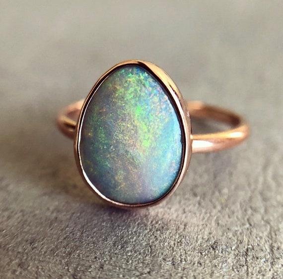 14K rose gold ring with Australian Opal SZ 5.75