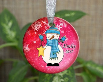 Personalized Christmas Ornament, Baby First Christmas ornament, Custom Ornament, Newborn baby gift, Snowman ornament, Christmas gift. o090