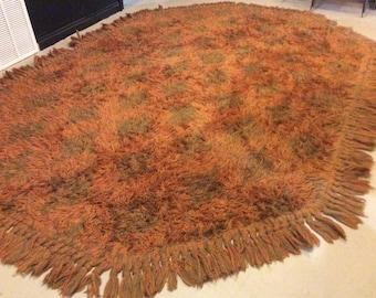 Mid Century Alexander Smith 100 % Polyester Orange/Green Shag Rug Size 10x7