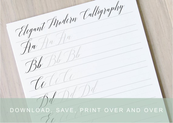 Elgant modern calligraphy lettering worksheets calligraphy