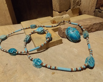 Egyptian jewelry scarab & Nile clay bead necklace + a single scarab for necklace or choker.