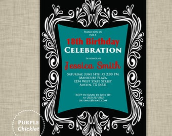 18th Birthday Invitation Red Teal Adult Party Invite Tween Invitation Elegant Black Adult Party Invite Printable Invite JPEG file (127)