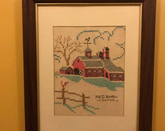 Framed vintage cross stitch art- Red Barn in Winter