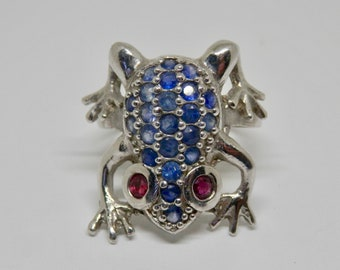Vintage Sterling Silver Frog Ring, Retro Statement Ring, UK Size M 1/2, US Size 6 1/4