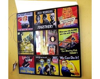 WWII propaganda wall mirror retro Rosie the Riveter vintage World War two poster kitsch