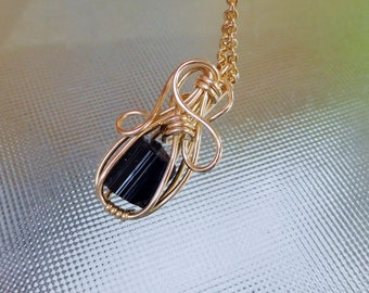 Small Black Tourmaline natural crystal 14k gold filled wire wrapped pendant