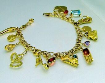 Vintage 14k Gold A Girl's Treasure Trove Charm Bracelet