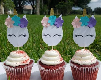12 Unicorn cupcake toppers