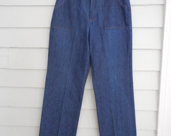 1970s women's high waisted jeans  / Medium to Large vintage ladies denim from Sears / wide leg denim