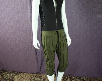 NEW!!!  Mens Drop Crotch Pants in Organic Forest Green Fabric with Drawstring Waistband and Pockets!
