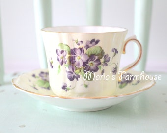 Vintage English Bone China Tea Cup and Saucer by Old Royal, Little Princess Birthday Tea Party, Replacement China - c. 1945 - 1963