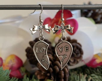 Silver heart jewelry love love with bow